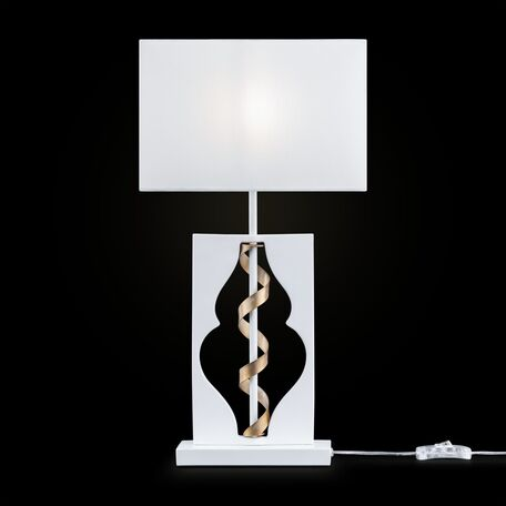 Настольная лампа Maytoni Classic Elegant Intreccio ARM010-11-W, 1xE14x40W, белый, матовое золото, металл, текстиль