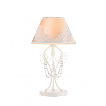 Настольная лампа Maytoni Lucy ARM042-11-W, 1xE14x40W, белый, розовый, прозрачный, металл, текстиль, стекло