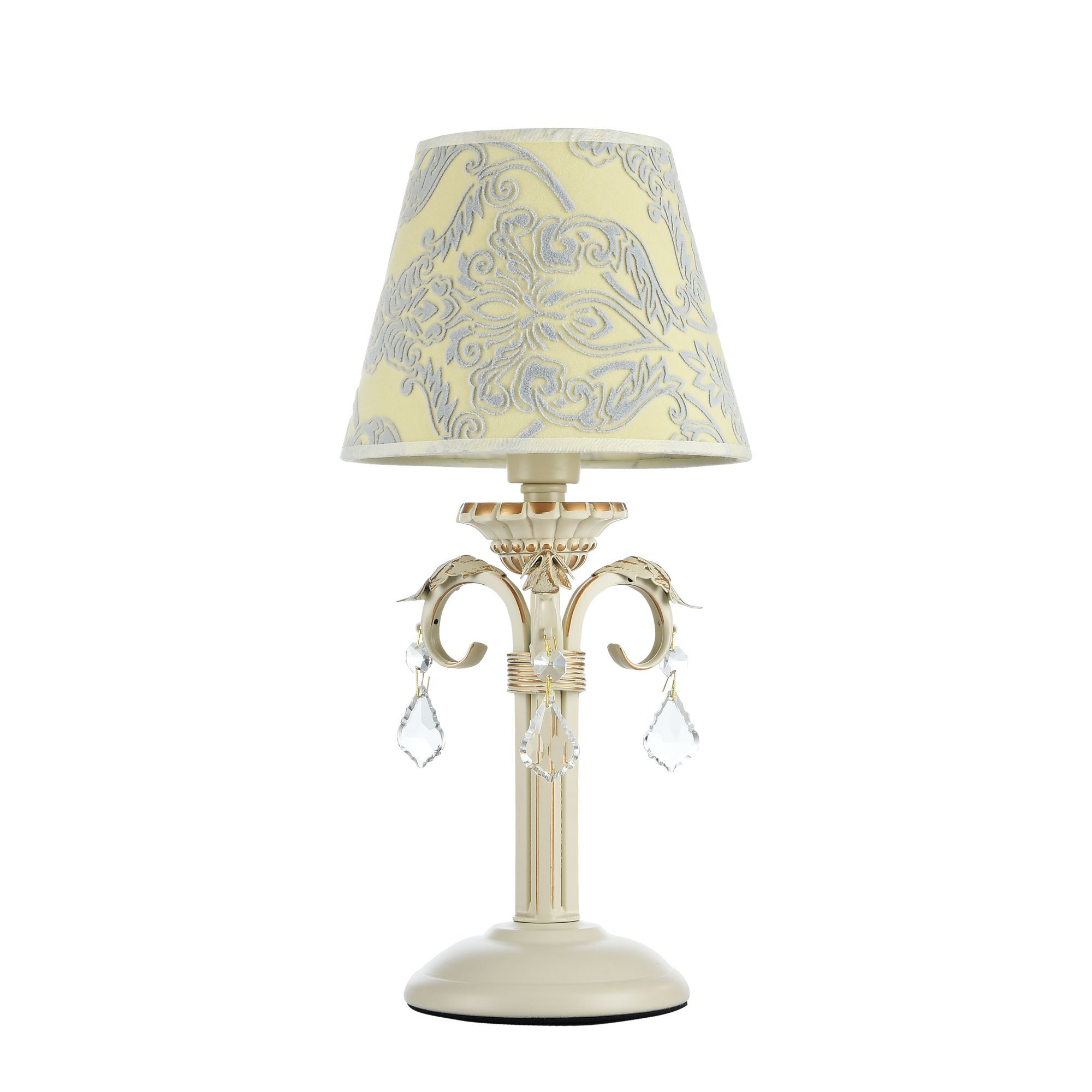 Настольная лампа Maytoni Velvet ARM219-00-G, 1xE14x40W, белый, матовое золото, бежевый, прозрачный, металл, текстиль, стекло - фото 1