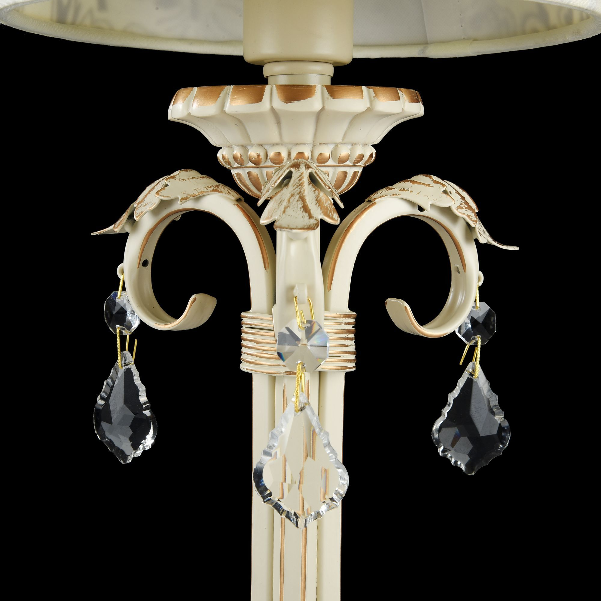 Настольная лампа Maytoni Velvet ARM219-00-G, 1xE14x40W, белый, матовое золото, бежевый, прозрачный, металл, текстиль, стекло - фото 5