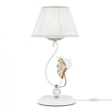 Настольная лампа Maytoni Elina ARM222-11-G, 1xE14x40W, белый, матовое золото, прозрачный, металл, пластик, текстиль