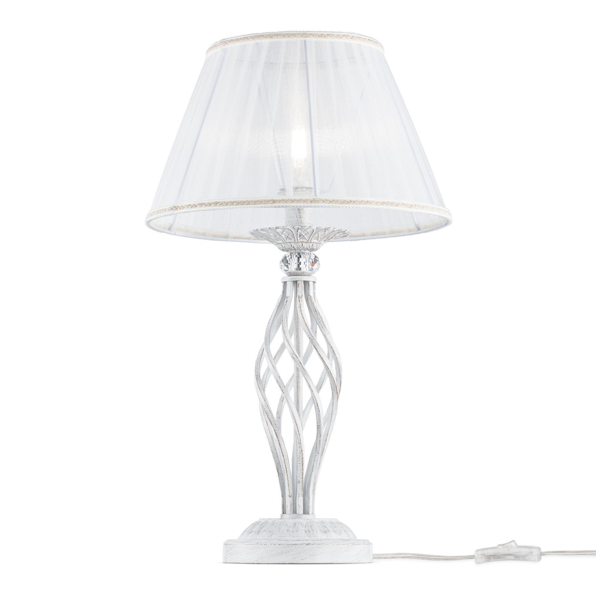 Настольная лампа Maytoni Grace ARM247-00-G, 1xE14x40W, белый с золотой патиной, белый, металл, текстиль - фото 1