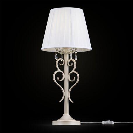 Настольная лампа Maytoni Triumph ARM288-22-G, 1xE27x40W, бежевый, матовое золото, прозрачный, белый, металл, текстиль, стекло