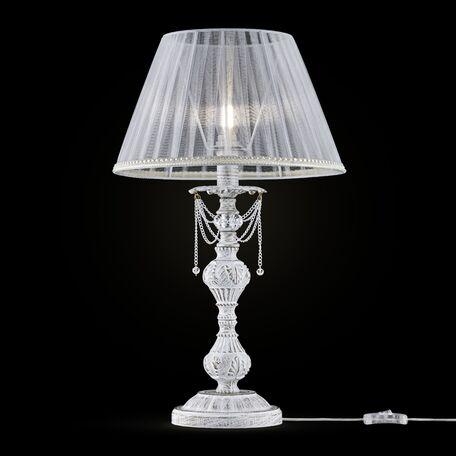 Настольная лампа Maytoni Lolita ARM305-22-W, 1xE14x40W, белый с золотой патиной, прозрачный, металл, текстиль, металл со стеклом