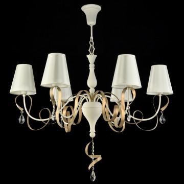 Подвесная люстра Maytoni Intreccio ARM010-06-W, 6xE14x40W, белый, матовое золото, прозрачный, металл, текстиль, хрусталь