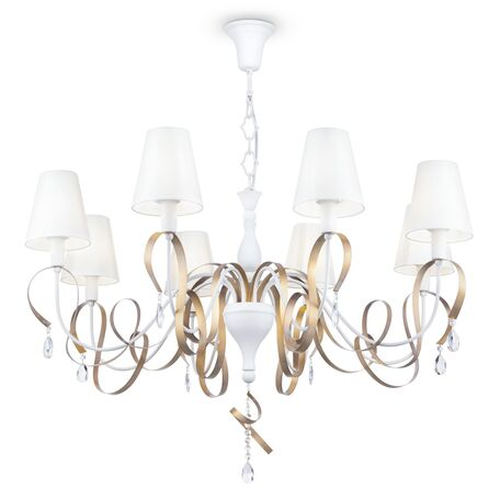 Подвесная люстра Maytoni Classic Elegant Intreccio ARM010-08-W, 8xE14x40W, белый, матовое золото, прозрачный, металл, текстиль, хрусталь