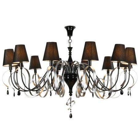 Подвесная люстра Maytoni Classic Elegant Intreccio ARM010-12-R, 12xE14x40W, черный, металл, текстиль, хрусталь