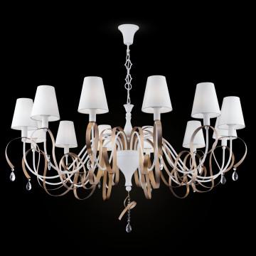 Подвесная люстра Maytoni Classic Elegant Intreccio ARM010-12-W, 12xE14x40W, белый, матовое золото, прозрачный, металл, текстиль, хрусталь - миниатюра 2