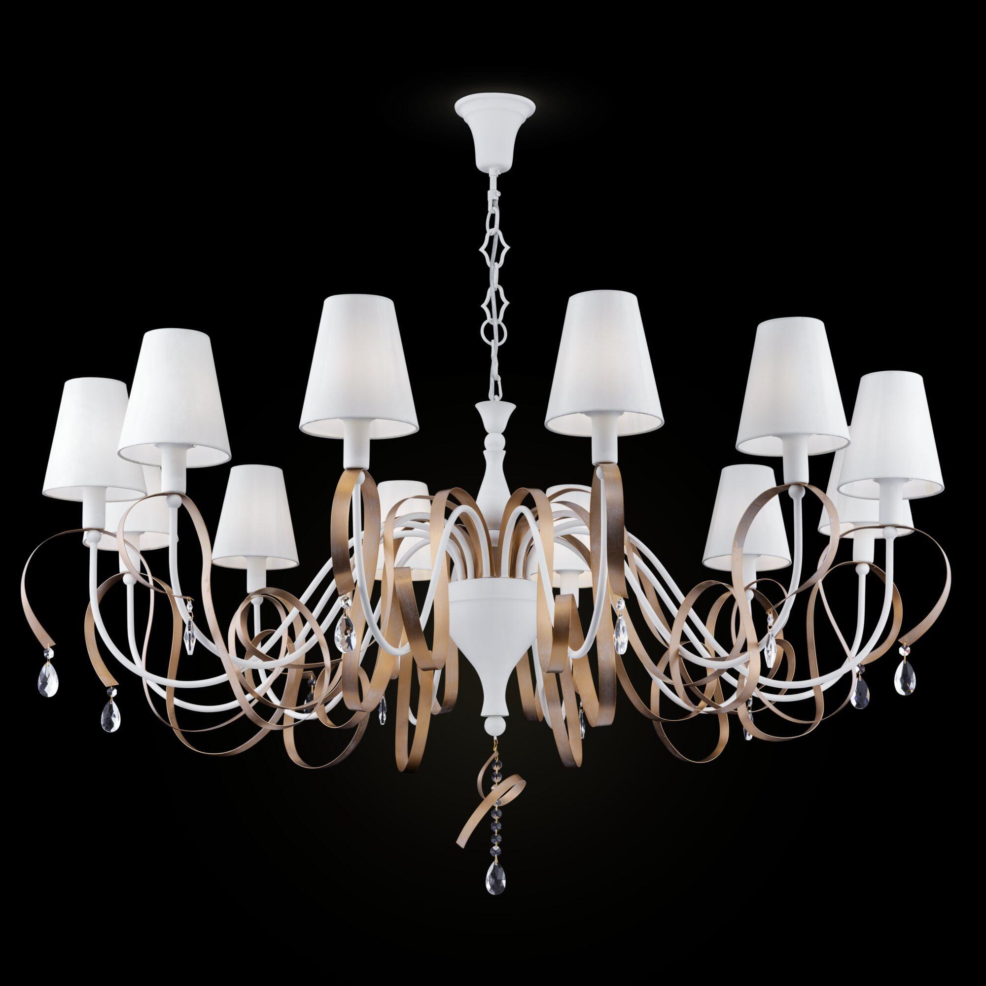 Подвесная люстра Maytoni Classic Elegant Intreccio ARM010-12-W, 12xE14x40W, белый, матовое золото, прозрачный, металл, текстиль, хрусталь - фото 2