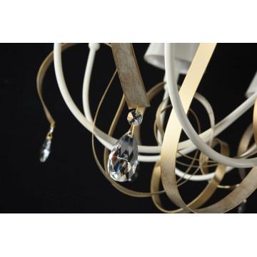 Подвесная люстра Maytoni Classic Elegant Intreccio ARM010-12-W, 12xE14x40W, белый, матовое золото, прозрачный, металл, текстиль, хрусталь - миниатюра 3