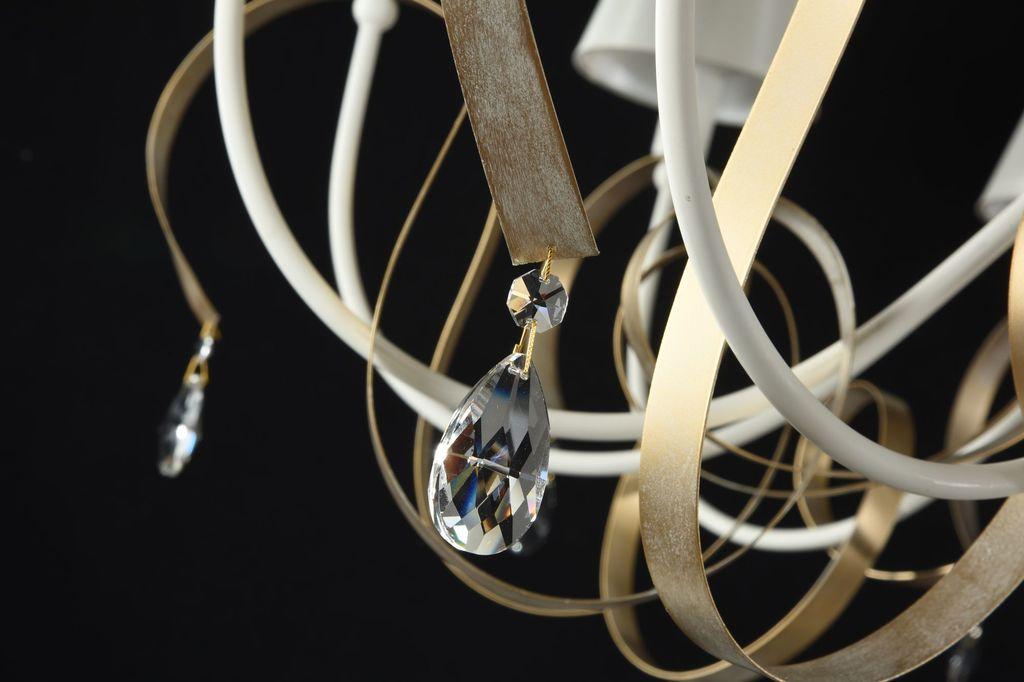 Подвесная люстра Maytoni Classic Elegant Intreccio ARM010-12-W, 12xE14x40W, белый, матовое золото, прозрачный, металл, текстиль, хрусталь - фото 3