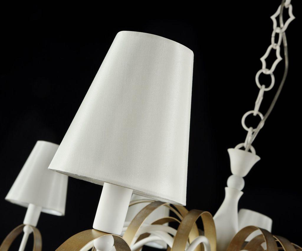 Подвесная люстра Maytoni Classic Elegant Intreccio ARM010-12-W, 12xE14x40W, белый, матовое золото, прозрачный, металл, текстиль, хрусталь - фото 4