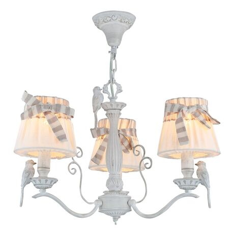 Подвесная люстра Maytoni Classic Elegant Bird ARM013-03-W, 3xE14x40W, белый, бежевый, серый, металл с пластиком, текстиль