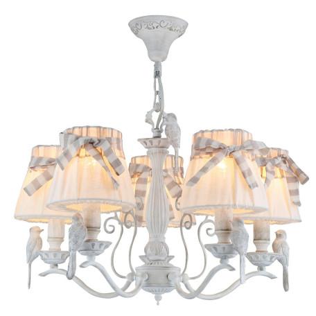 Подвесная люстра Maytoni Bird ARM013-05-W, 5xE14x40W, белый, бежевый, серый, металл, пластик, текстиль - миниатюра 2