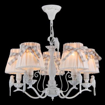 Подвесная люстра Maytoni Bird ARM013-05-W, 5xE14x40W, белый, бежевый, серый, металл, пластик, текстиль - миниатюра 3