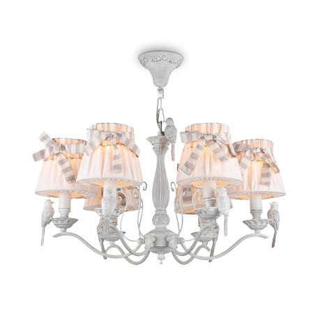 Подвесная люстра Maytoni Classic Elegant Bird ARM013-06-W, 6xE14x40W, белый, бежевый, серый, металл с пластиком, текстиль