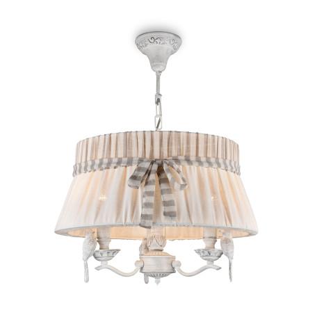 Подвесная люстра Maytoni Classic Elegant Bird ARM013-33-W, 3xE14x40W, белый, бежевый, серый, металл с пластиком, текстиль