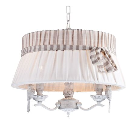 Подвесная люстра Maytoni Bird ARM013-33-W, 3xE14x40W, белый, бежевый, серый, металл, пластик, текстиль - миниатюра 1
