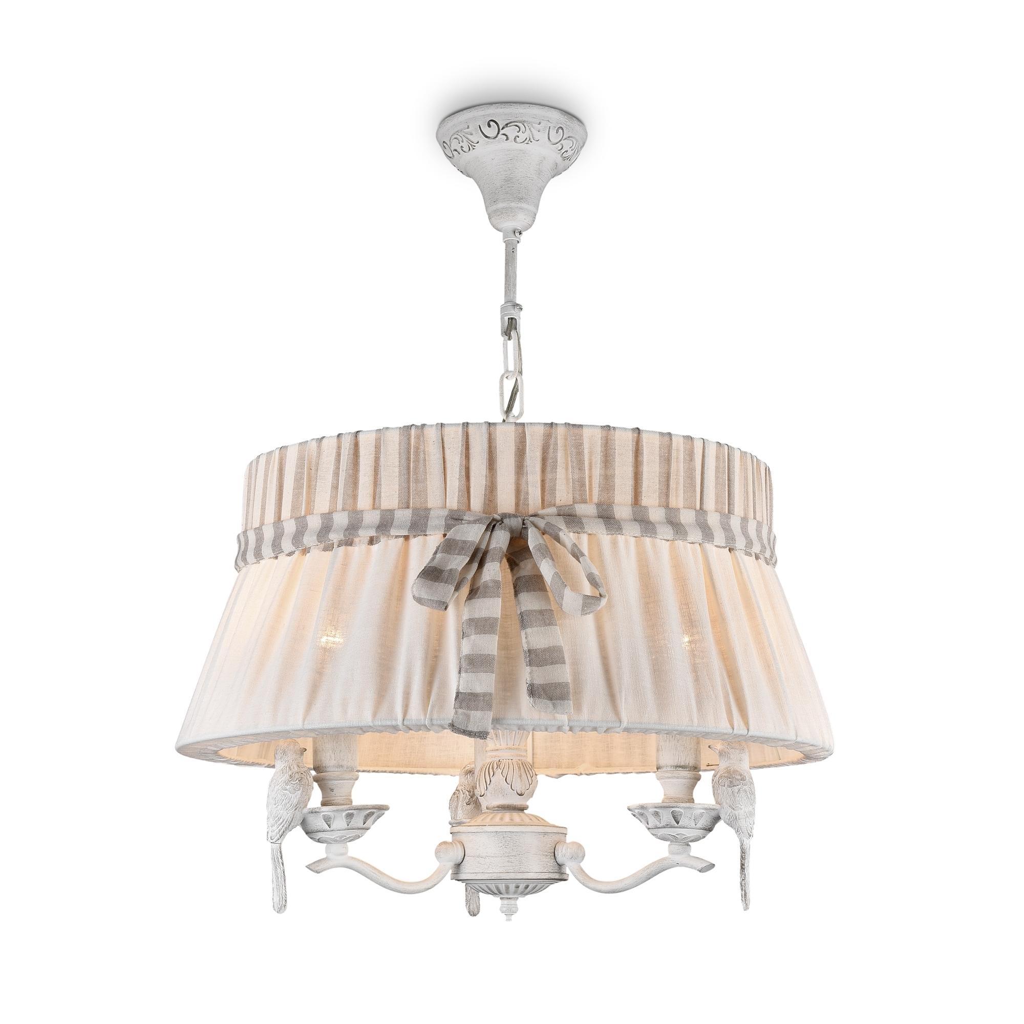 Подвесная люстра Maytoni Bird ARM013-33-W, 3xE14x40W, белый, бежевый, серый, металл, пластик, текстиль - фото 1