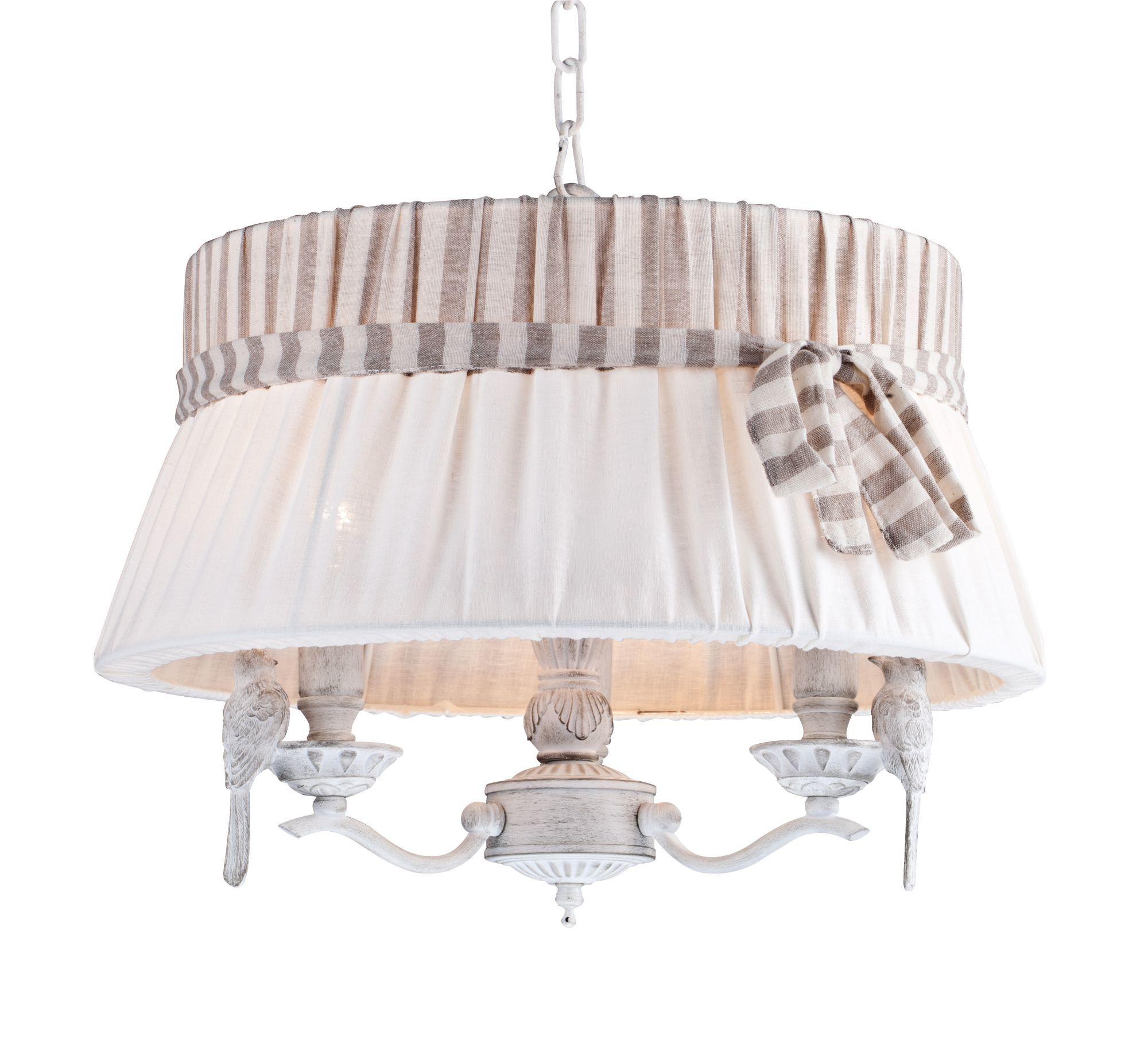 Подвесная люстра Maytoni Bird ARM013-33-W, 3xE14x40W, белый, бежевый, серый, металл, пластик, текстиль - фото 2
