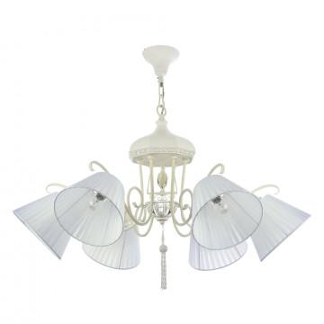 Подвесная люстра Maytoni Cella ARM031-06-W, 6xE14x40W, белый, металл, текстиль, стекло
