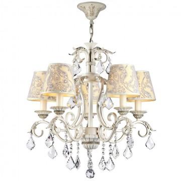 Подвесная люстра Maytoni Velvet ARM219-05-G, 5xE14x40W, белый, матовое золото, бежевый, прозрачный, металл, текстиль, стекло