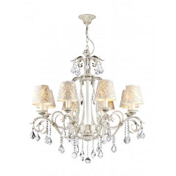 Подвесная люстра Maytoni Velvet ARM219-08-G, 8xE14x40W, белый, матовое золото, бежевый, прозрачный, металл, текстиль, стекло