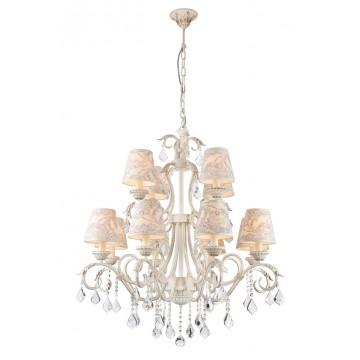 Подвесная люстра Maytoni Velvet ARM219-12-G, 12xE14x40W, белый, матовое золото, бежевый, прозрачный, металл, текстиль, стекло