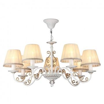 Подвесная люстра Maytoni Sunrise ARM290-07-G, 7xE14x40W, белый, матовое золото, прозрачный, бежевый, металл, текстиль