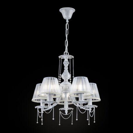Подвесная люстра Maytoni Classic Elegant Lolita ARM305-05-W, 5xE14x40W, белый с золотой патиной, белый, прозрачный, металл, текстиль, металл со стеклом