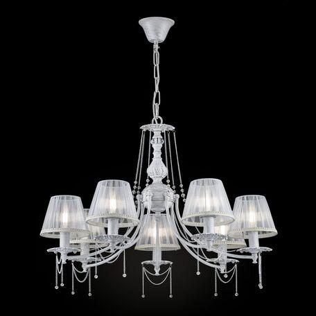 Подвесная люстра Maytoni Lolita ARM305-07-W, 7xE14x40W, белый с золотой патиной, прозрачный, металл, текстиль, металл со стеклом