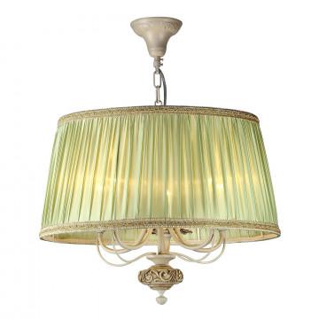 Подвесная люстра Maytoni Olivia ARM325-55-W, 5xE14x40W, бежевый, зеленый, металл, текстиль