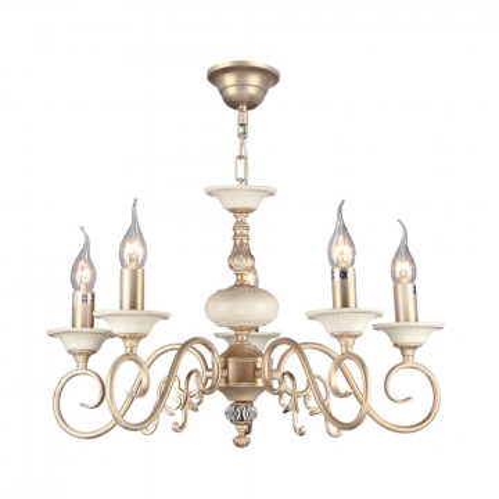 Подвесная люстра Maytoni Classic Elegant Perla ARM337-05-R, 5xE14x60W, бежевый, матовое золото, металл