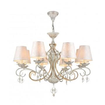 Потолочно-подвесная люстра Maytoni Monile ARM004-06-W, 6xE14x40W, белый с золотой патиной, матовое золото, перламутровый, белый, искусственный жемчуг, металл, текстиль