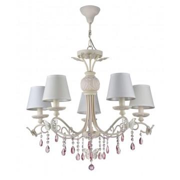 Потолочно-подвесная люстра Maytoni Fiona ARM032-05-PK, 5xE14x40W, белый, розовый, прозрачный, сиреневый, металл, текстиль