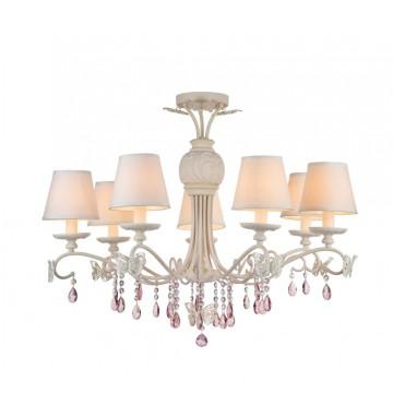 Потолочно-подвесная люстра Maytoni Fiona ARM032-07-PK, 7xE14x40W, белый, розовый, прозрачный, сиреневый, металл, текстиль