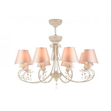 Потолочно-подвесная люстра Maytoni Cutie ARM051-08-G, 8xE14x40W, бежевый с золотой патиной, матовое золото, розовый, прозрачный, металл, текстиль, хрусталь