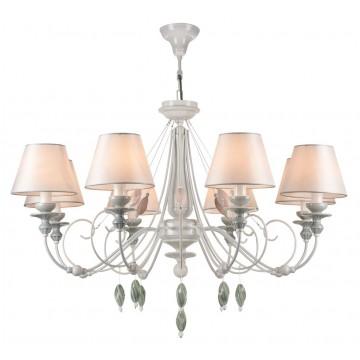 Потолочно-подвесная люстра Maytoni Adelia ARM540-08-W, 8xE14x40W, белый, зеленый, розовый, разноцветный, металл, текстиль, керамика
