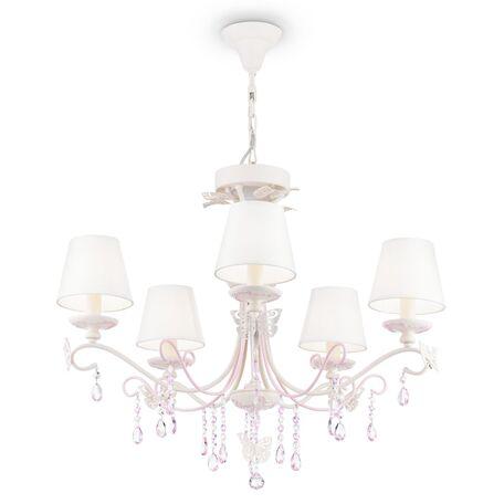 Потолочно-подвесная люстра Maytoni Fiona ARM032-05-PK, 5xE14x40W, белый с розовым, белый, розовый с прозрачным, металл, текстиль, стекло