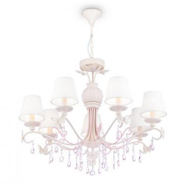 Потолочно-подвесная люстра Maytoni Classic Elegant Fiona ARM032-07-PK, 7xE14x40W, белый, розовый, прозрачный, сиреневый, металл, текстиль, стекло