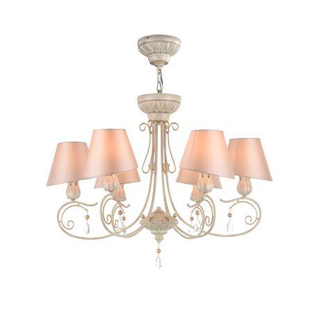 Потолочно-подвесная люстра Maytoni Cutie ARM051-06-G, 6xE14x40W, бежевый с золотой патиной, матовое золото, розовый, прозрачный, металл, текстиль, хрусталь