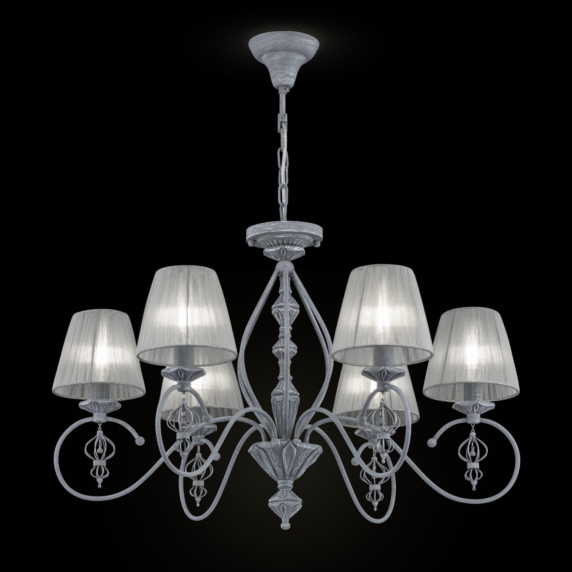 Потолочно-подвесная люстра Maytoni Classic Elegant Monsoon ARM154-06-S, 6xE14x40W, серый, металл, текстиль - фото 1