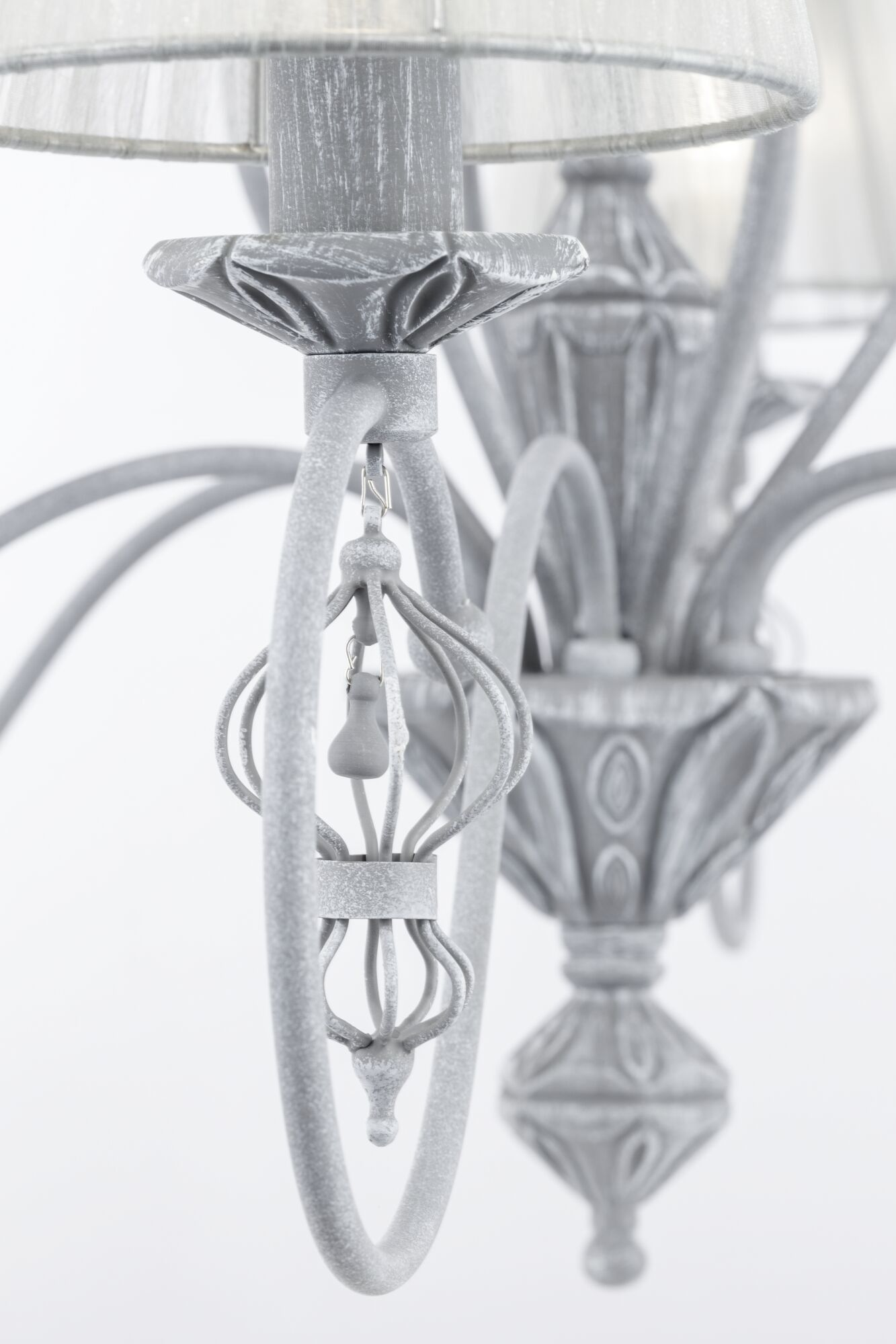Потолочно-подвесная люстра Maytoni Classic Elegant Monsoon ARM154-06-S, 6xE14x40W, серый, металл, текстиль - фото 4
