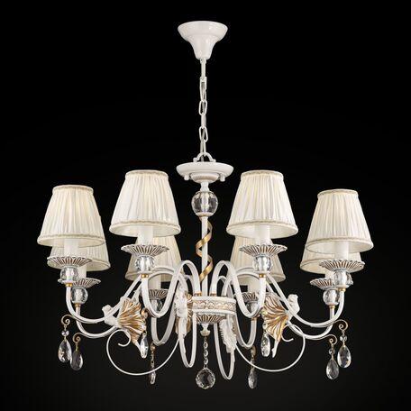 Потолочно-подвесная люстра Maytoni Elina ARM222-08-G, 8xE14x40W, белый, матовое золото, прозрачный, металл, текстиль, хрусталь