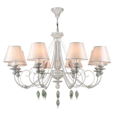 Потолочно-подвесная люстра Maytoni Classic Elegant Adelia ARM540-08-W, 8xE14x40W, белый, зеленый, розовый, разноцветный, металл, текстиль, керамика