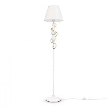 Торшер Maytoni Classic Elegant Intreccio ARM010-01-W, 1xE27x40W, белый, матовое золото, металл, текстиль