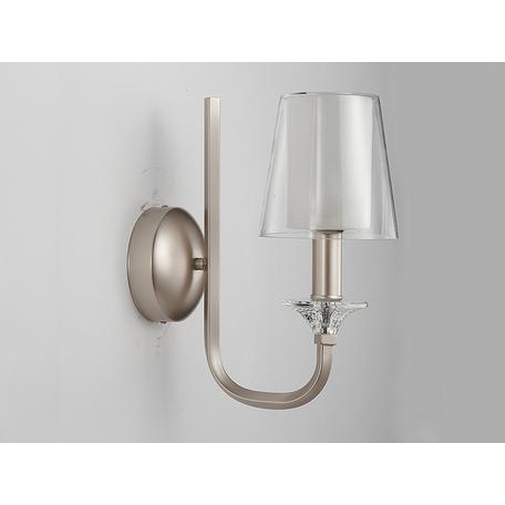 Бра Newport 4601/A, 1xE14x60W, серебро, белый, металл со стеклом, стекло