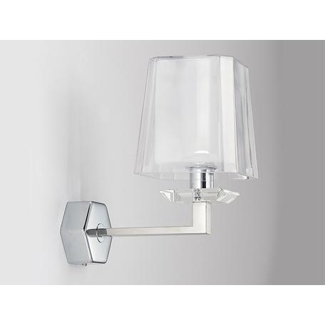 Бра Newport 4701/A, 1xE14x60W, хром, белый, металл со стеклом, стекло