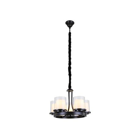 Подвесная люстра Newport 35005/C, 5xE14x60W, черный, белый, металл, стекло