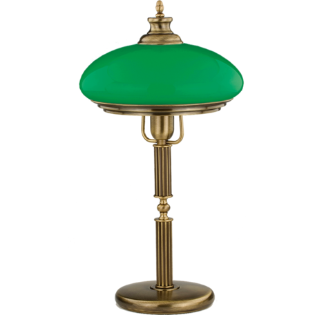 Настольная лампа Kutek Sorrento SOR-LG-1(P)GR, 1xE27x60W, бронза, зеленый, металл, стекло
